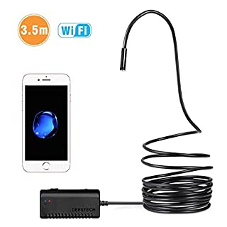 Wireless Inspection Camera, Depstech Premium IP67 Waterproof WiFi Borescope Endoscope 1200P HD Snake Camera for Android and IOS Smartphone, iPhone, Samsung, Tablet - Black(11.5FT)
