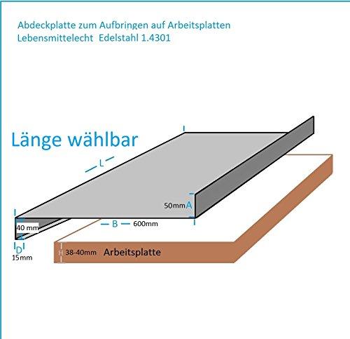 Edelstahl Abdeckplatte für Arbeitsplatte 15x40x600x50mm 0,8mm K240 Edelstahltisch Edelstahl...