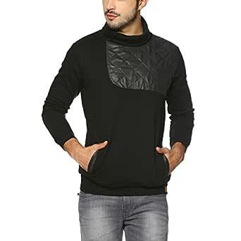 Campus Sutra Men's Solid Sweatshirt (AZW17_HHNKFPT_M_PLN_BL_AZ_S) Black