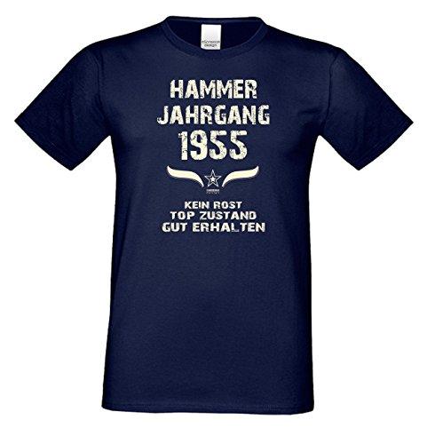 Geschenk zum 62. Geburtstag :-: Geschenkidee kurzarm Geburtstags-Sprüche-T-Shirt mit Jahreszahl :-: Hammer Jahrgang 1955 :-: Geburtstagsgeschenk für Männer :-: Farbe: navy-blau Navy-Blau