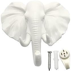 cabeza de elefante Perchero de pared perchero sombrero gancho con forma de animales decorativo regalo, blanco