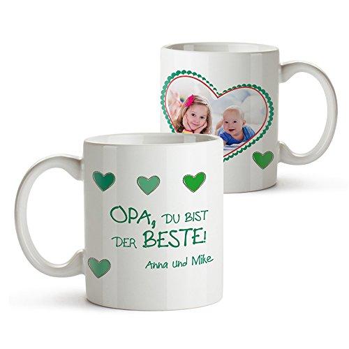 Tassenwerk Foto-Tasse mit Aufdruck - Personalisiert mit Namen und Foto – Persönliches Foto-Geschenk für Opa – Kaffeetasse in weiß als Geburtstagsgeschenk – Geschenkideen für Großväter
