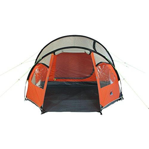 10T Mandiga 3 Orange - Tunnelzelt für 3 Personen, Campingzelt mit großer Schlafkabine, wasserdichtes Familienzelt mit 5000mm, Zelt mit 2 Eingängen und 2 Fenstern, Festivalzelt mit Dauerbelüftung, 3 Mann Zelt mit Tragetasche, Zeltheringe und Zeltgestänge - 6