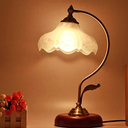 Nachttischlampe, Für Frauen Glas Lampenschirm Studie lesen Schreibtischlampe Haushalt Dekoration Schreibtischlampe Restaurant Cafe Antiquität,White