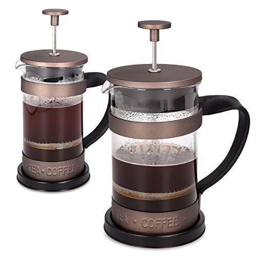 Navaris French Press Kaffeebereiter mit Edelstahl Filter – 350 ml Stempelkanne – 12×8,5×16,5cm – 0,35 l Kaffeezubereiter Presskanne – auch für Tee