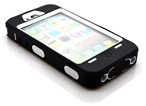 ACENIX - Nueva carcasa resistente para constructores obreros armadura completamente negra para iPhone 4 y 4S - Gruesa - Con protector de pantalla Puntero incluido - Protector de Pantalla y de logotipo incorporados