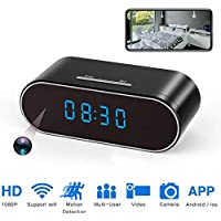 Hidden Spy Camera Clock Wireless WiFi Hidden Cameras HD 1080P Nanny Cam for Home Security Monitor Video Recorder 140 Angle Night Vision Motion Detection (Upgraded Version)