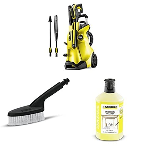 Karcher K4 Full Control Pressure Washer with Rigid Washing Brush and Universal Detergent, 1 L -