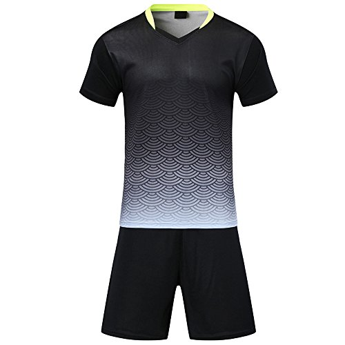 n Fussball Trikots Eltern-Kind-Ausrüstung von Männer Sports Trainingstrikots Trikot und Hose, Schwarz,EU L=Tag XL, Erwachsene(170-175CM) ()