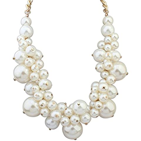 Aooaz Collane donna Boemia Collane statement Collane girocollo Vintage Lungo Collane perla Cluster bianco