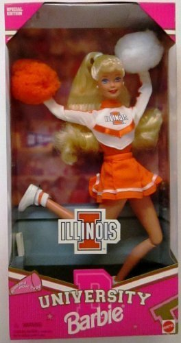 NCAA-licensed Special Edition University of Illinois Cheerleader Barbie [1996] by Mattel (English Manual)
