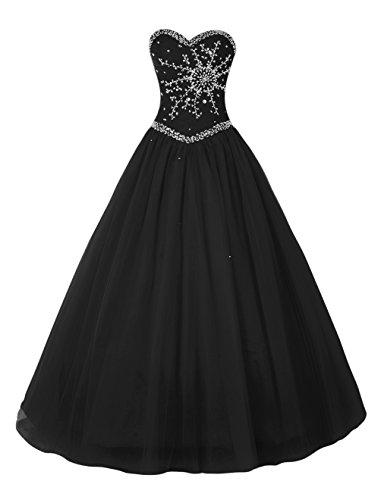 Bbonlinedress Robe de cérémonie Robe de soirée forme marquise emperlée en tulle longueur ras du sol Noir
