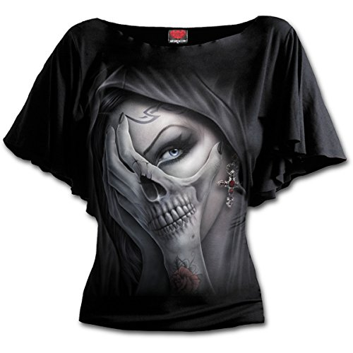Spiral Direct Damen Dead Hand-Boat Neck Bat Sleeve Top Black T-Shirt, Schwarz 001, 38 (Herstellergröße: Medium)