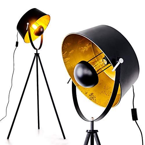 Stehleuchte Jupiter aus Metall schwarz-gold, Bodenlampe für Wohnzimmer, Schlafzimmer, Flur - Der Lampenschirm ist dreh- und schwenkbar