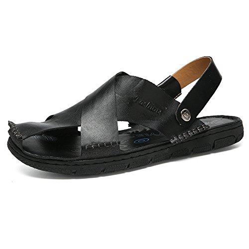 LPLLPL Sandalen Herren-Sandalen aus echtem Leder Rutschfeste geschlossene Zehenhausschuhe Schalter Rückenfrei erraten (Color : Schwarz, Größe : 8MUS) -