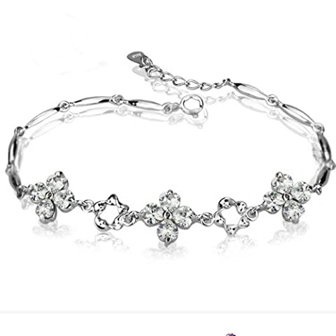 Rarelove Platinum White Gold Plated Sterling Silver 925 Bracelet Women Cz Crystal Four Leaf Clover Flower Fashion Girl Hand Chain authentic Jewelry Accessory for