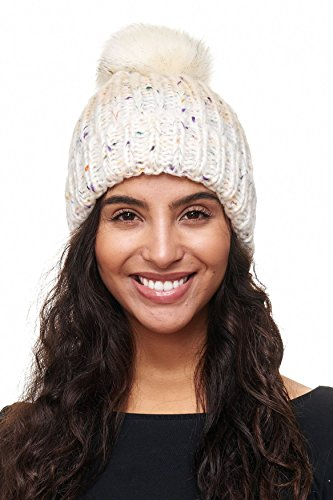 ArizonaShopping - Accessories Bonnet tricoté coloré Bonnet tacheté Beanie  Motif D2131, Couleurs Blanc, 75e70d2e081
