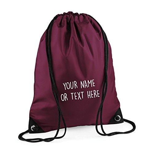 MYOG © Personalised Premium Drawstring Bag PE Gym Kit School P.E Kids Sport Rucksack (22 Colours) (Burgundy)