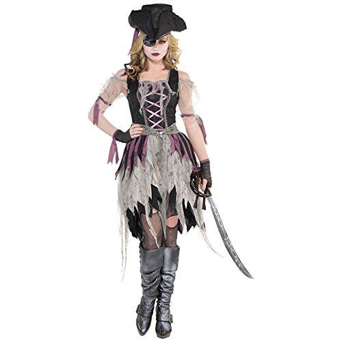 Für Erwachsene Sexy Kleid Kostüm Totenkopf - shoperama Geisterpiratin Kostüm für Damen Damenkostüm Piratin Halloween Kleid Geist, Größe:L
