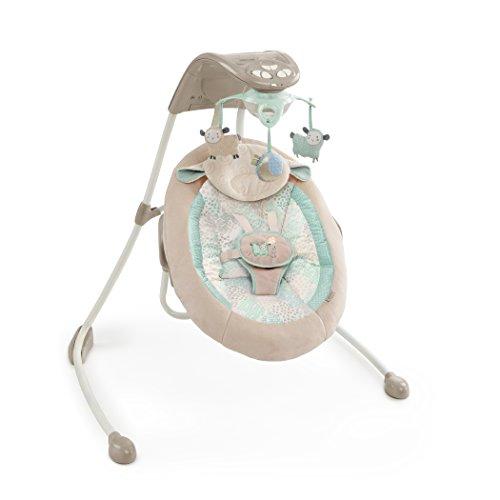 Bright Starts 60360 kuschelige Deluxe Babyschaukel mit drehbarem Sitz, MP3-Player elektronischem Mobile mit Lichteffekten 3 Plüschspielzeugen