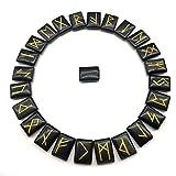 Juego de piedras de runas de aventurina de obsidiana, piedras preciosas caídas con palabras de runas talladas para la adivinación, Reiki de sanación con cristales, piedras preciosas pulidas a mano
