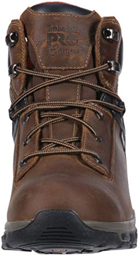 Timberland PRO Men s Hypercharge 6  Soft Toe Waterproof Industrial Boot  Brown Full Grain Leather  7 W US