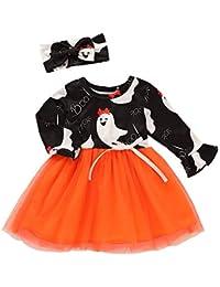 K-youth Vestidos Bebe Niña, Recién Bebé Niñas Tutú Princesa Vestido Halloween Bautizo Bebé Niñas Vestidos de Manga Larga Otoño Invierno Ropa para 0-24 Meses