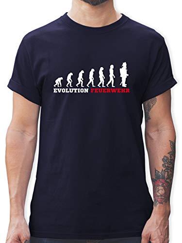 Feuerwehr - Evolution Feuerwehr - L - Navy Blau - L190 - Tshirt Herren und Männer T-Shirts