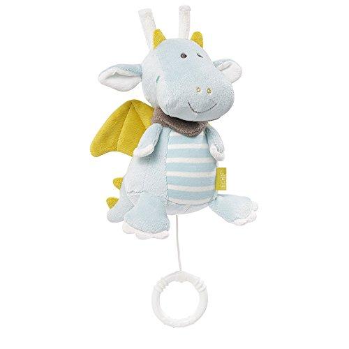 Fehn 065015 Spieluhr Drache / Kuscheltier mit integriertem Spielwerk mit sanfter Melodie zum Aufhängen an Kinderwagen, Babyschale oder Bett, für Babys und Kleinkinder ab 0+ Monaten