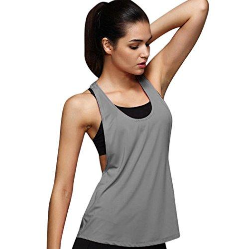 Crochet Tank Top Mit Muster (LILICAT Frauen Sommer Lose Yoga Top Mode Shirt Damen Hemd Fitness Vest Studio Sport Weste Ausbildung Lauf Casual Tank Top (L, Grau))