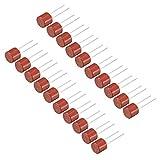 sourcing map 20 Stk. DIP Miniaturzylinder Slow Blow Mikro Sperrtmetur t1A 1A 250V rot