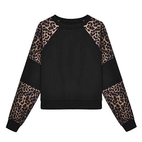 Luckycat Manga Larga para Mujer Leopardo Empalme O Cuello Sudadera Informal Top Blusa Pullover