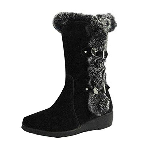 n Winter Herbst Schuhe Mode Mädchen Winterstiefel Warmes Mittleres Kalb Stiefel Warm Winterschuhe (Schwarz, 40) ()