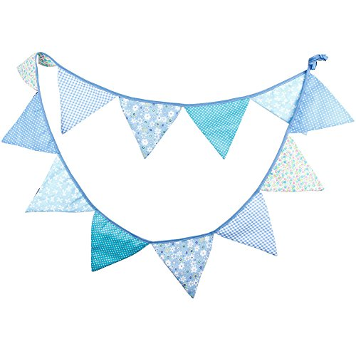Demarkt 12 Beautiful Colourful Garland Bunting for Outdoor Decoration with Flower Pictures Cotton Total Length 3.2 m (Blau) -