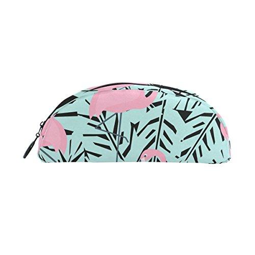 (bennigiry Tropical Palm Tree Leaves Pink Flamingo Bleistift Schutzhülle, Big Kapazität Stift Tasche Schreibtisch Organizer Halbkreis Schreibwaren Beutel Halter für Schule & Büro Supplies)