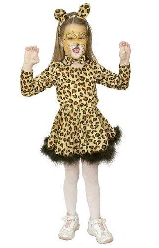 Kinderkostüm: Leoparden-Girl mit Body, Rock und Haarreif, Kinder-Größe:128