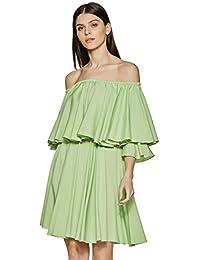 Stalk Buy Love Women's Lime Diana Off Shoulder Skater Dress