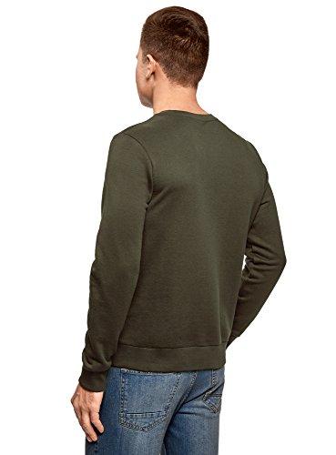 oodji Ultra Herren Sweatshirt mit Kontrastdruck Grün (6912P)