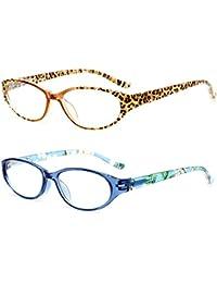 Inlefen Macho y hembra de primavera con bisagras gafas de lectura ovales lentes de resina 1.0