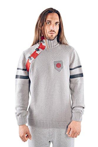 Musterbrand-Destiny-Strickpullover-Herren-Defender-Strick-Sweatshirt-Grau