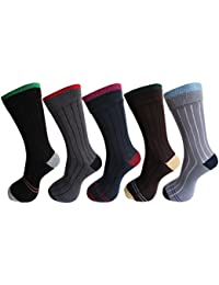 RC. ROYAL CLASS Men's Cotton Calf Length Ribbed Formal Socks (Pack of 5 Pairs)