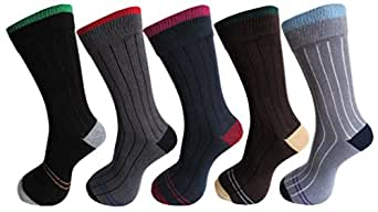 RC. ROYAL CLASS Men's Cotton Ribbed Calf Length Cotton Socks (Pack of 5 Pairs)