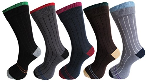 RC. ROYAL CLASS Men\'s Stripe Calf Length Socks (Pack of 5)