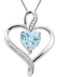 "Silvernshine Women's 1.25 Ct Heart Cut Aquamarine & Diamond Pendant Necklace, 18"" .925 Silver Chain"