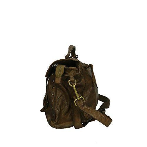 italienischem Leder 36x30x16 Chicca Handtasche Cm echtem Borse aus Braun wvxpR