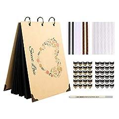 Idea Regalo - Aparty4u, Libro degli Ospiti Fai da Te per Matrimonio, Carta Nera con Penna Metallica Colorata Album Fotografico Fai da Te Rustico per Matrimonio, Regalo per Addio al Nubilato