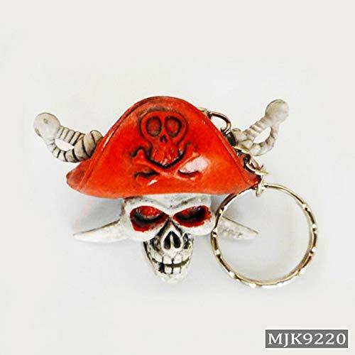 lotuwio Neuheit Schädel Schlüsselanhänger Männer Vintage Silber Gummi Teufel Tod Monster Piraten Trinket Auto Schlüsselanhänger Geschenk 4 -