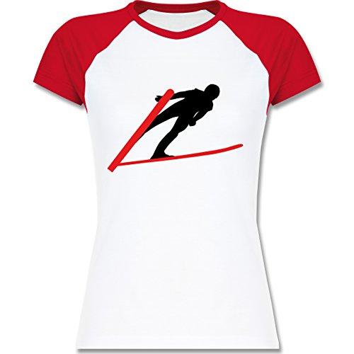 Shirtracer Wintersport - Skispringer Skispringen - Zweifarbiges Baseballshirt/Raglan T-Shirt für Damen Weiß/Rot