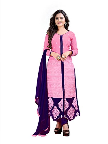 Crazy Women's Pink Georgette Long Salwar Suits for Women Semi Stitched