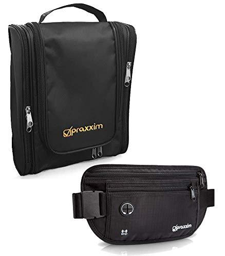 praxxim Reise Set - Flache RFID Bauchtasche + Kulturtasche zum Aufhängen - beide schwarz und wasserabweisend - für Damen und Herren -